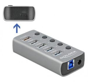 DELOCK hub 5x USB + 1x Type-C PD με διακόπτες 63263