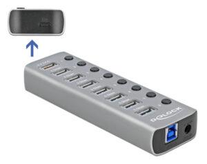 DELOCK hub 8x USB + 1x Type-C PD με διακόπτες 63264
